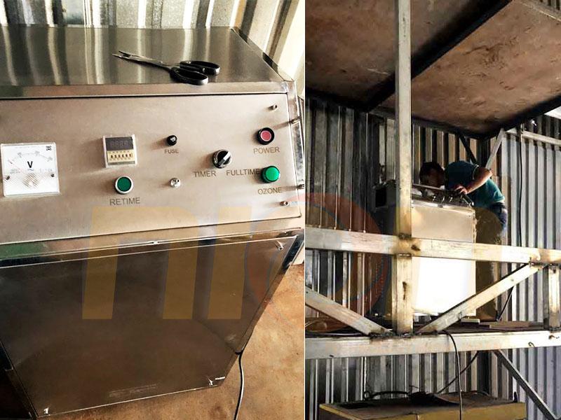 Máy ozone công nghiệp công suất 20g O3/h được châm trực tiếp vào ống dẫn thải sau giai đoạn xử lý tĩnh điện